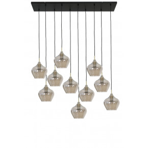 Suspension 10 Lampes RAKEL bronze antique fumé